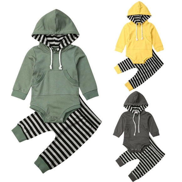 2pc Striped Hooded Romper Set - StarSailyrBoutique
