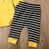 2pc Striped Hooded Romper Set