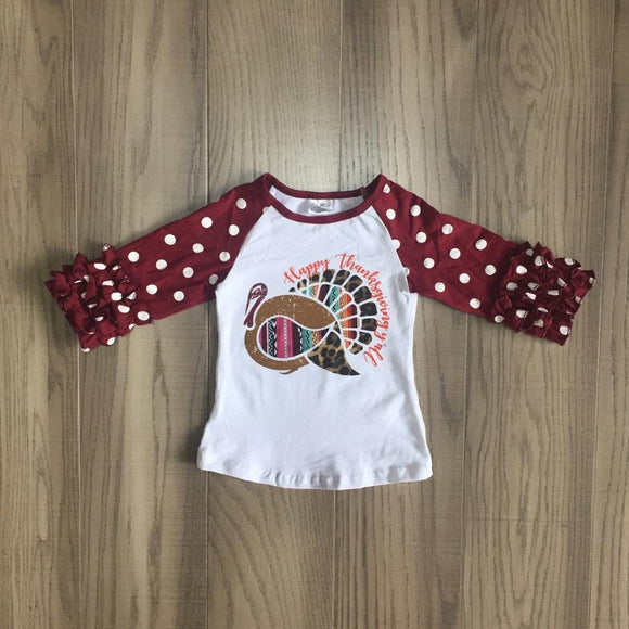 Cranberry Turkey Raglan with Ruffles