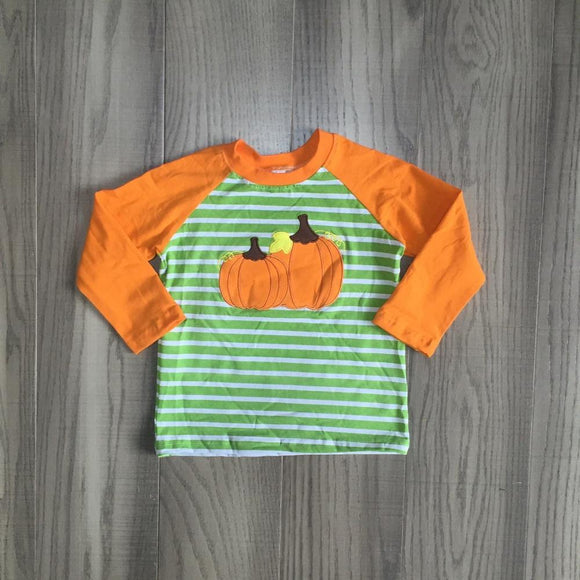 Green Striped Pumpkin Raglan