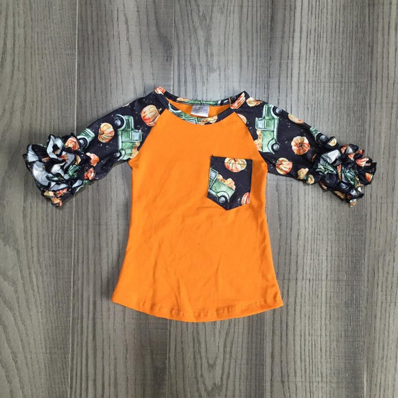 Pumpkin Truck Pocket Raglan with Ruffles
