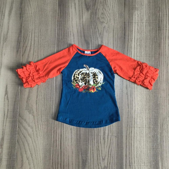 Red and Blue Leopard Pumpkin Raglan with Ruffles