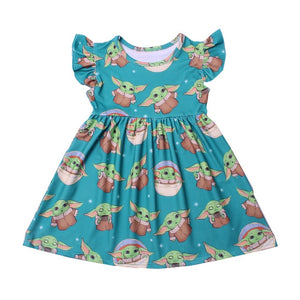Baby Yoda Milk Silk Dress - StarSailyrBoutique