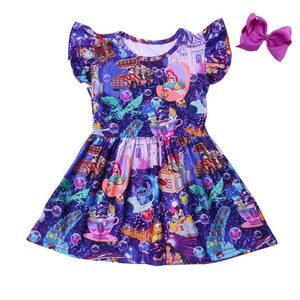 Disney Themed Night Sky Milk Silk Dress with Bow - StarSailyrBoutique