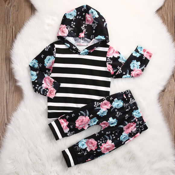 Black Floral Striped Set
