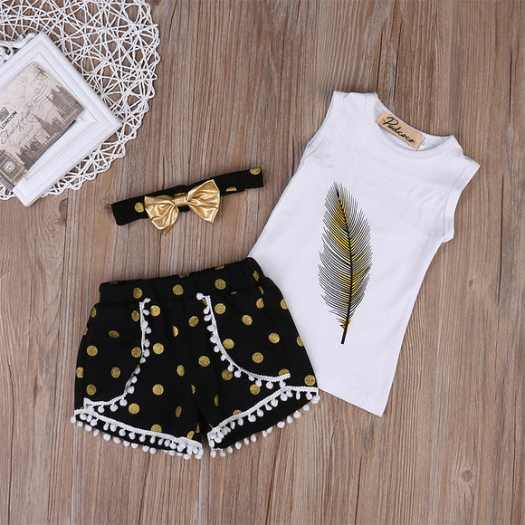 3pc Feather Top with Pompom Shorts