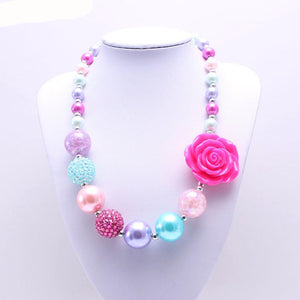 Pink, Turquoise, and Purple Bubblegum Necklace