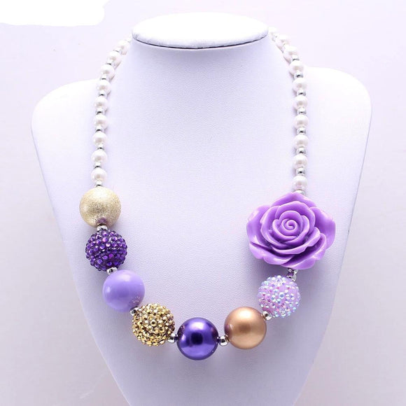 Gold, Pearl, and Purple Bubblegum Necklace