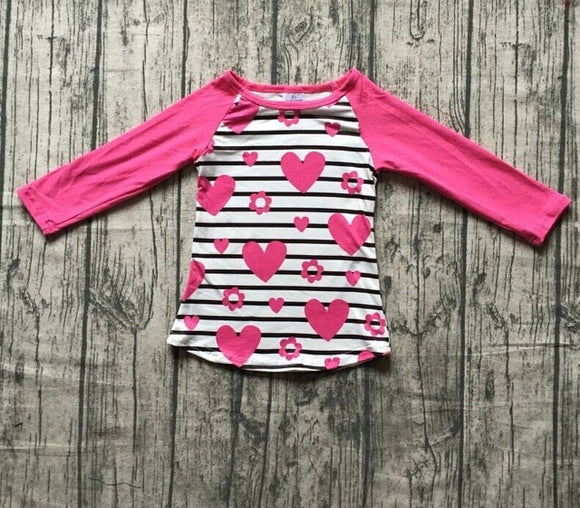 Pink Hearts and Stripes Raglan - LIMITED AVAILABILITY