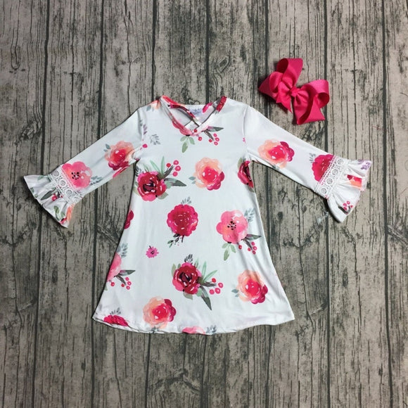 Rose Milk Silk Dress with Bow