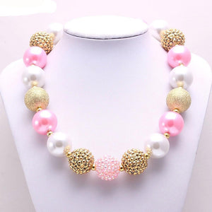 Pink, Gold, and White Bubblegum Necklace