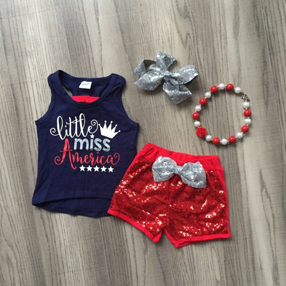 4pc Little Miss America Set - StarSailyrBoutique