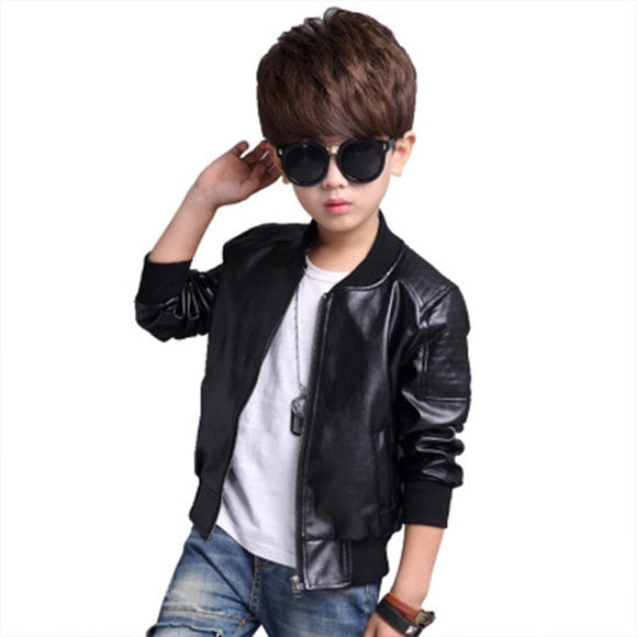 Boys Black Faux Leather Jacket - StarSailyrBoutique