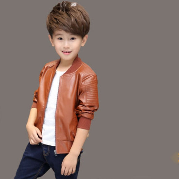 Boys Brown Faux Leather Jacket