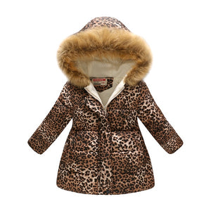 Leopard Print Snow Jacket with Faux Fur Hood