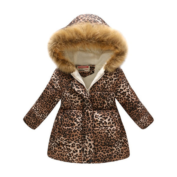 Leopard Print Snow Jacket with Faux Fur Hood - StarSailyrBoutique