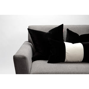 Black and White Color Block Velvet Pillow Cover