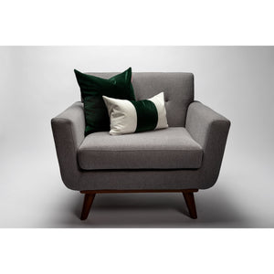 Green Color Block Soft Italian Velvet Pillow Cover