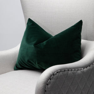 Modern Contemporary Green Soft Italian Velvet Pillow Cover