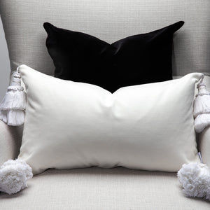White Velvet Pillows With Handmade Tassels