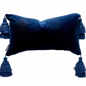 Blue Velvet Pillow Cover With Handmade Tassels