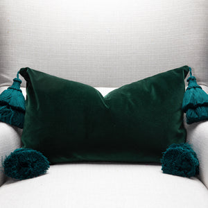 Green Velvet Pillow Cover With Handmade Tassels