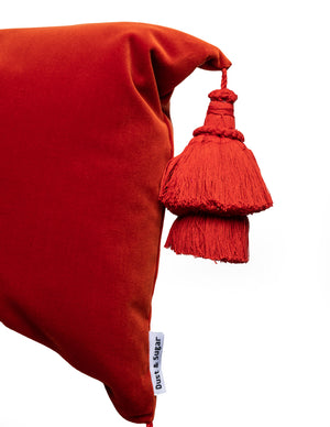Burnt Orange Pillow Cover With Handmade Tassels