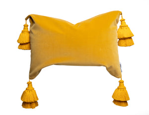 Mustard Yellow Pillow With Handmade Tassels