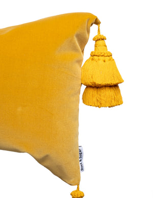 Mustard Yellow Pillow Cover With Handmade Tassels