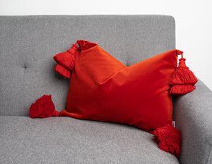 Burnt Orange Pillows With Handmade Tassels