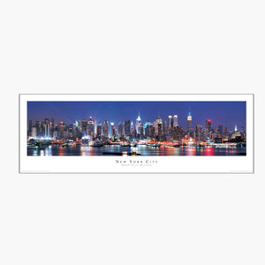 NYC Skyline Hudson View Color Panoramic Poster