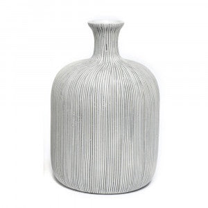 Funkis  Lindform Vase Bottle Grey Stripe Medium 12cm