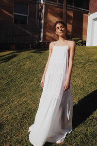UNIK BY US AUSTEN TIERED MAXI DRESS WHITE