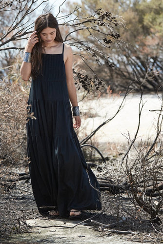 UNIK BY US AUSTEN TIERED MAXI DRESS BLACK