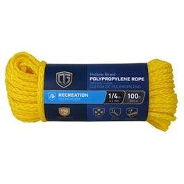 Polypropylene Rope, Hollow Core, Yellow, 1/4-In. x 100-Ft.