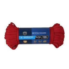 Para Cord 550 Nylon Rope, Red, 5/32-In. x 100-Ft.