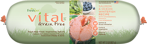 Vital® Grain Free Salmon & Ocean Whitefish Dog Food Recipe With Spinach, Cranberries & Blueberries