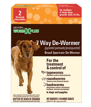Sentry Worm X Plus 7 Way De-Wormer for Medium & Large Dogs Greater than 25 lbs