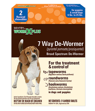 Sentry Worm X Plus 7 Way De-Wormer for Puppies & Small Dogs 6-25 lbs