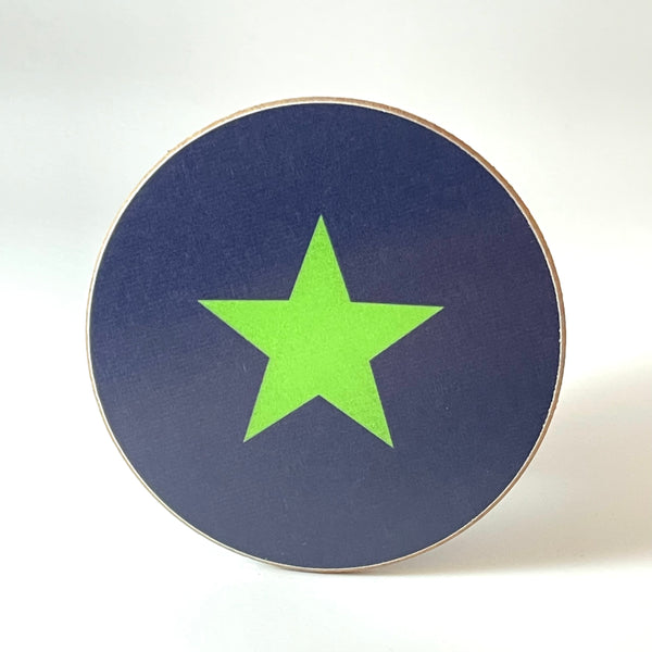 Navy and Green Star Coaster