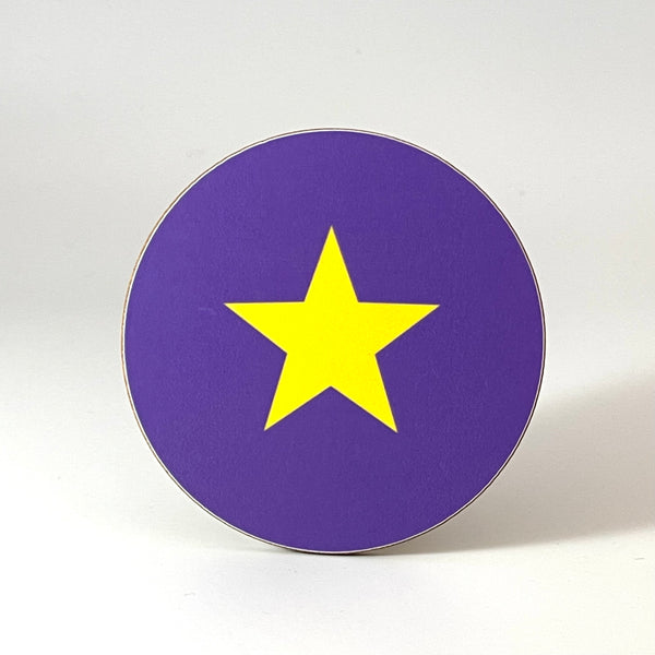 Purple and Yellow Star Coaster