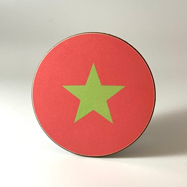 Coral and Green Star Coaster