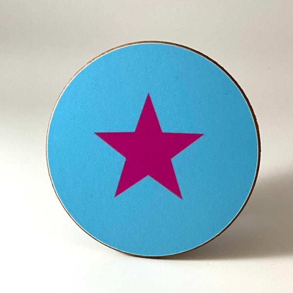 Turquoise and Pink Star Coaster