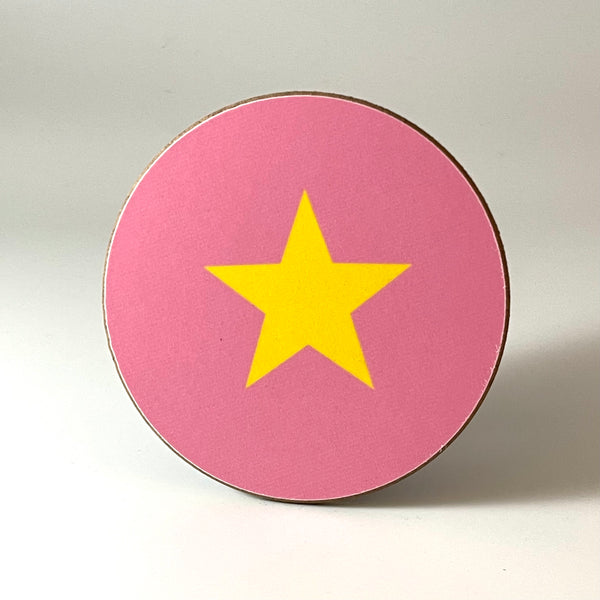 Pink and Yellow Star Coaster