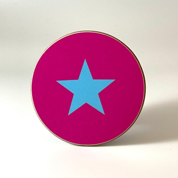 Pink and Blue Star Coaster