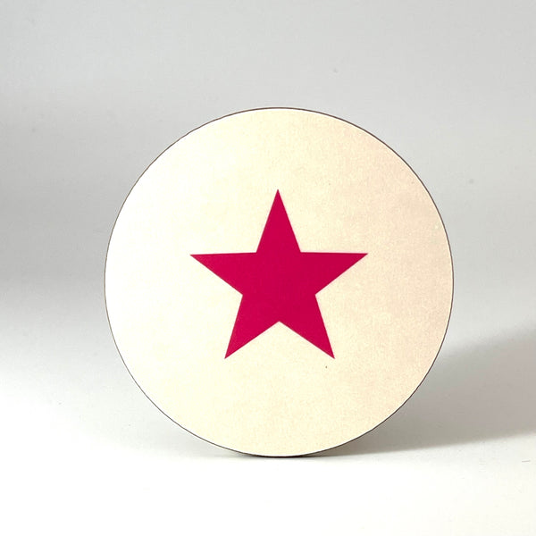 Cream and Pink Star Coaster