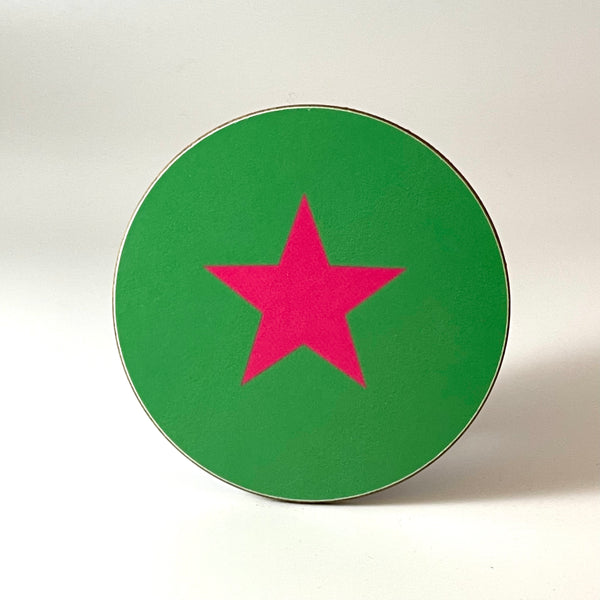 Green and Pink Star Coaster