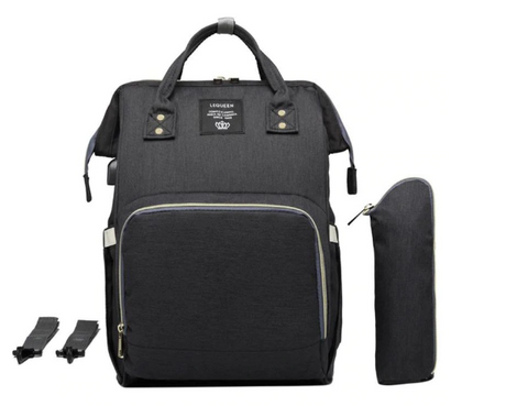 Black Canvas Nappy Backpack