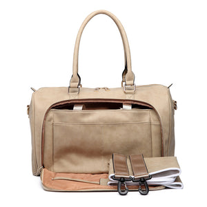 Cream Faux Leather Change Bag