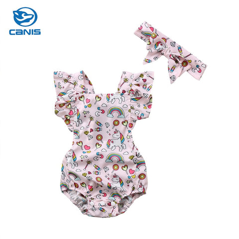 Unicorn Sleeveless Romper with Ruffles & Bow Headband (2pcs)
